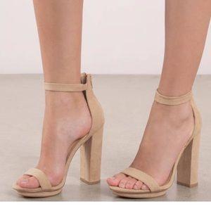 BRAND NEW. Never worn. Light tan ankle strap heels